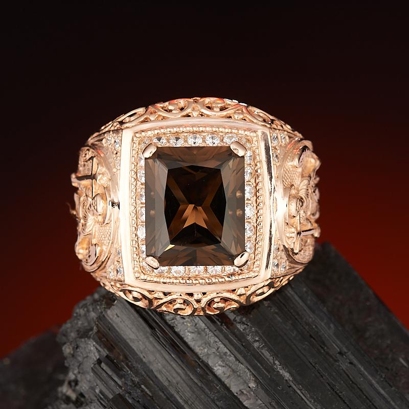 Кольцо раухтопаз огранка (серебро 925 пр., позолота) размер 22