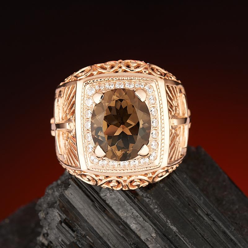 Кольцо раухтопаз огранка (серебро 925 пр., позолота) размер 21