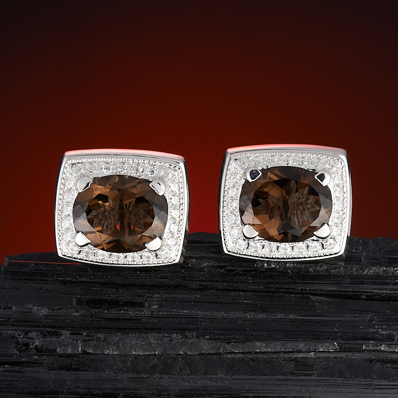 Запонки раухтопаз  огранка (серебро 925 пр.) запонки greg запонки
