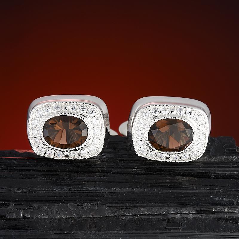 Запонки раухтопаз огранка (серебро 925 пр.) запонки серебро россии 141025r 57603