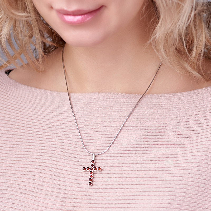 Кулон янтарь Россия крест (латунь посеребр.) 3,5 см