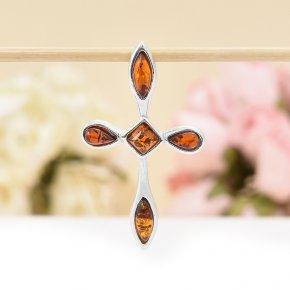 Кулон крест янтарь Россия 3,5 см