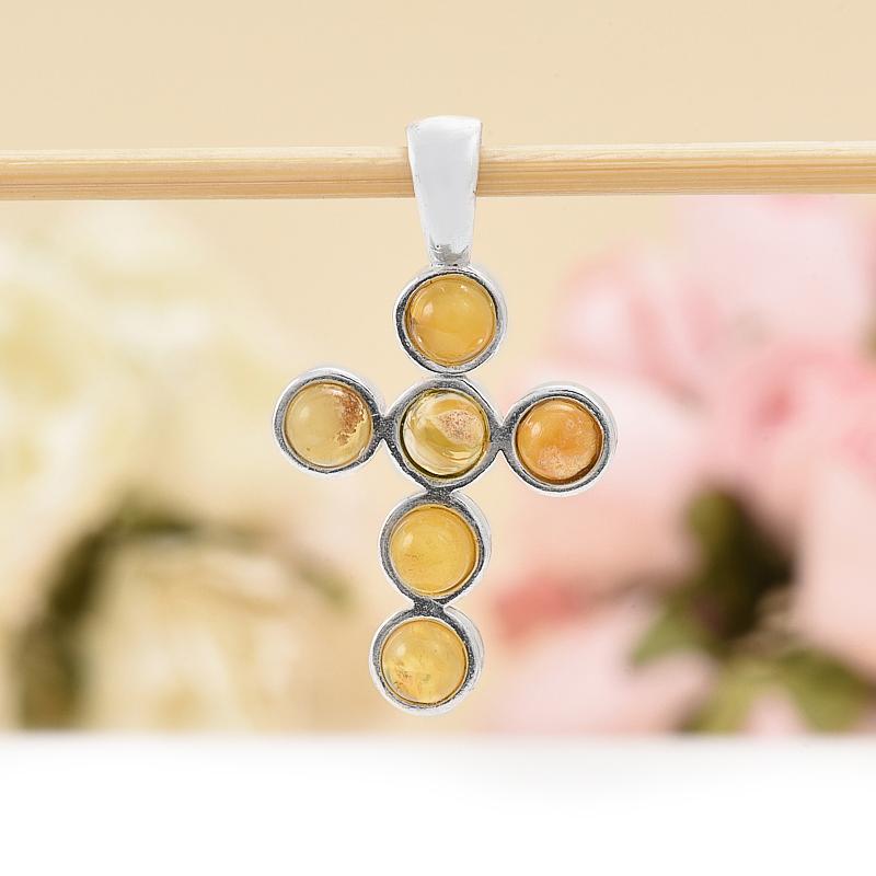 Кулон крест янтарь  3 см