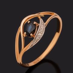 Кольцо сапфир Индия огранка (золото 585 пр.) размер 17