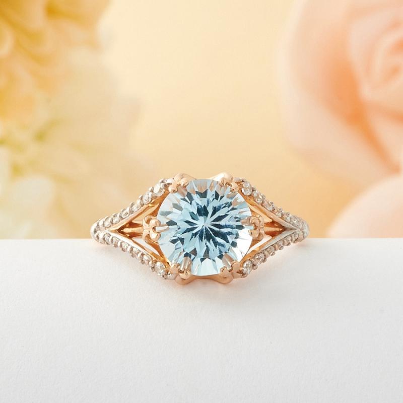 Кольцо топаз голубой огранка (позолоченное серебро 925) размер 17 кольцо коюз топаз кольцо т748013584