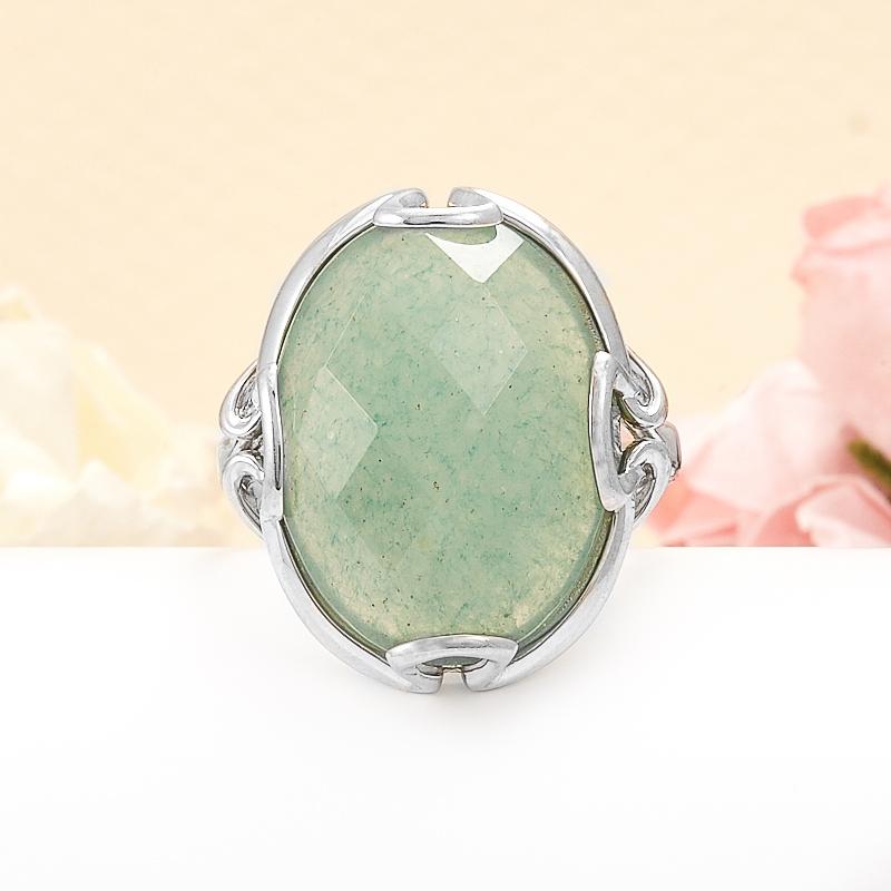 Кольцо авантюрин зеленый  огранка (серебро 925 пр.) размер 18,5