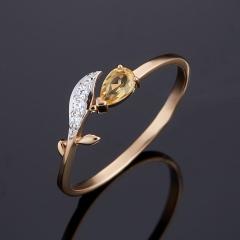 Кольцо цитрин Бразилия огранка (золото 585 пр.) размер 18,5