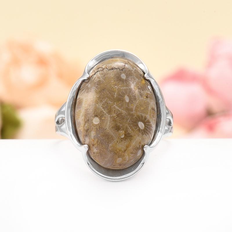 Кольцо коралл  (серебро 925 пр.) размер 17,5