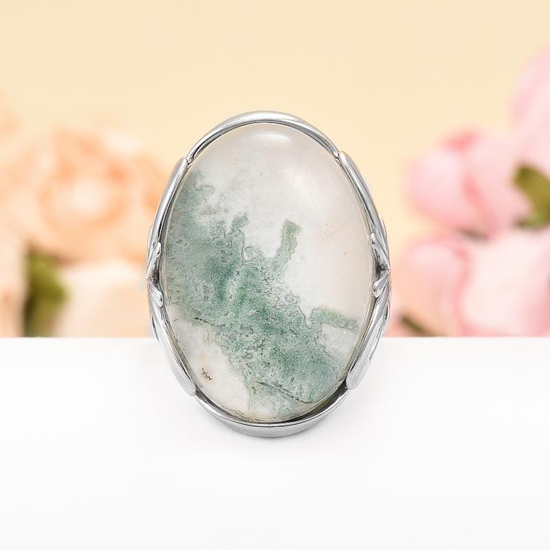 Кольцо агат моховой дублет (серебро 925 пр.) размер 18,5 кабошон агат моховой 21 35 мм