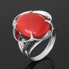 Кольцо коралл красный Индонезия (серебро 925 пр. родир. бел.) размер 17,5