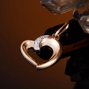 Кулон бриллиант Россия сердечко огранка (золото 585 пр.)