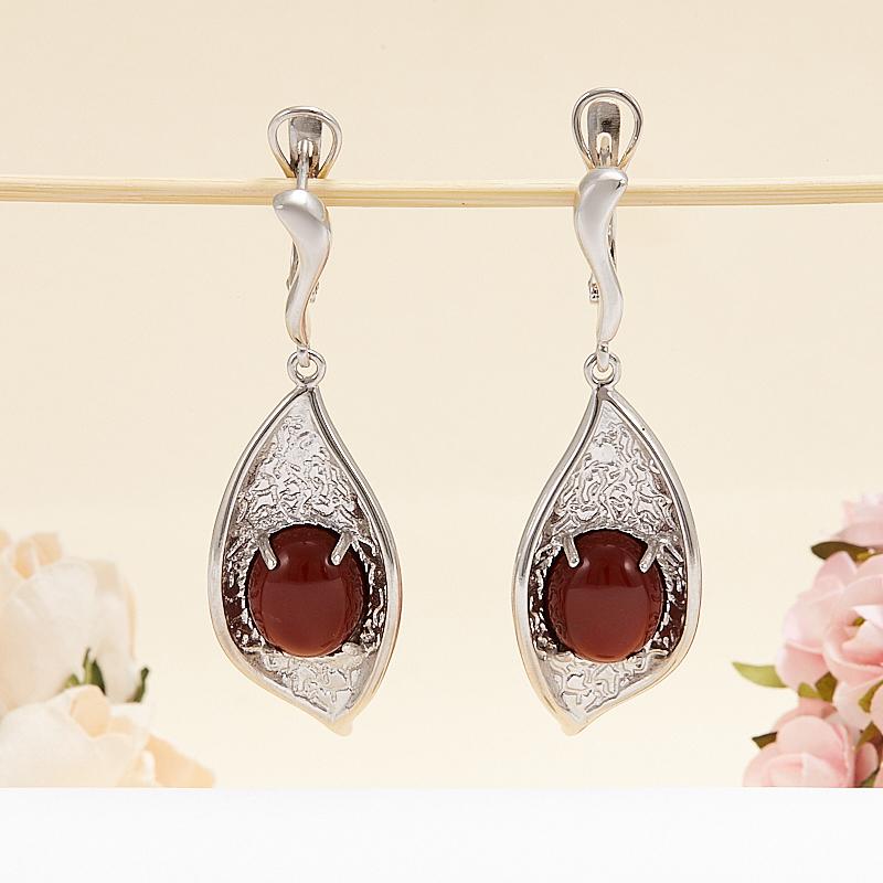 Серьги яшма красная (серебро 925 пр.) браслет яшма 17 см серебро 925 пр