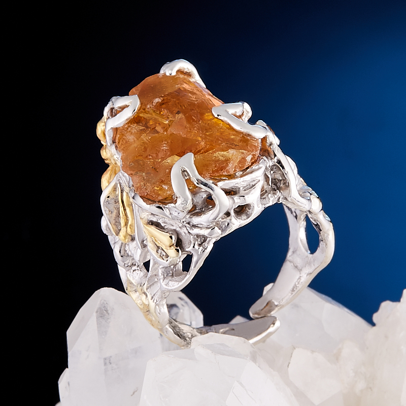 Кольцо цитрин  (серебро 925 пр., позолота) размер регулируемый кольцо фуксит серебро 925 пр регулируемый размер