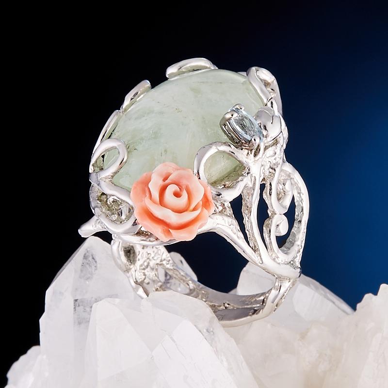 Кольцо аквамарин  (серебро 925 пр., позолота) размер регулируемый кольцо авантюрин зеленый серебро 925 пр размер 18