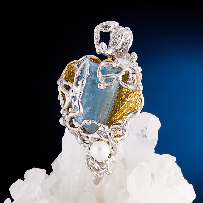 Кулон аквамарин  (серебро 925 пр., позолота)
