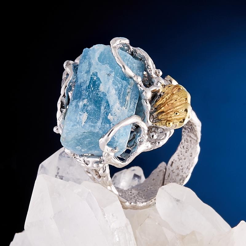 Кольцо аквамарин  (серебро 925 пр., позолота) размер регулируемый кольцо фуксит серебро 925 пр регулируемый размер