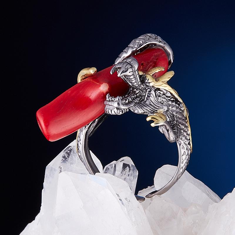 Кольцо коралл красный (серебро 925 пр., позолота) размер регулируемый