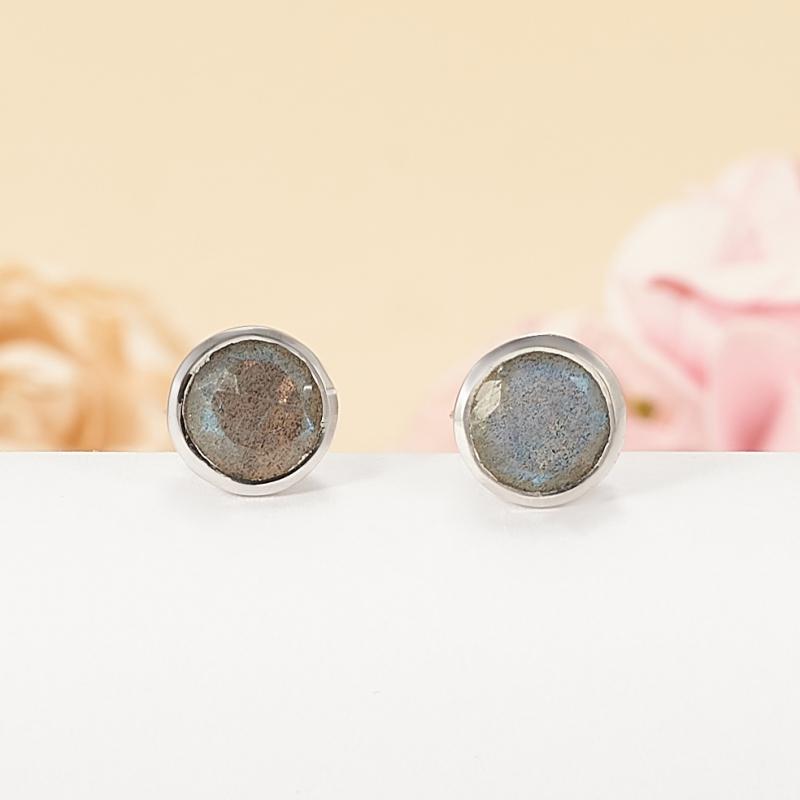 Серьги лабрадор  пуссеты огранка (серебро 925 пр.)