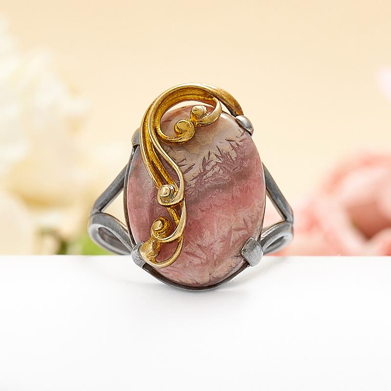 Кольцо родохрозит  (серебро 925 пр., позолота) размер 18,5 кольцо авантюрин зеленый серебро 925 пр размер 18