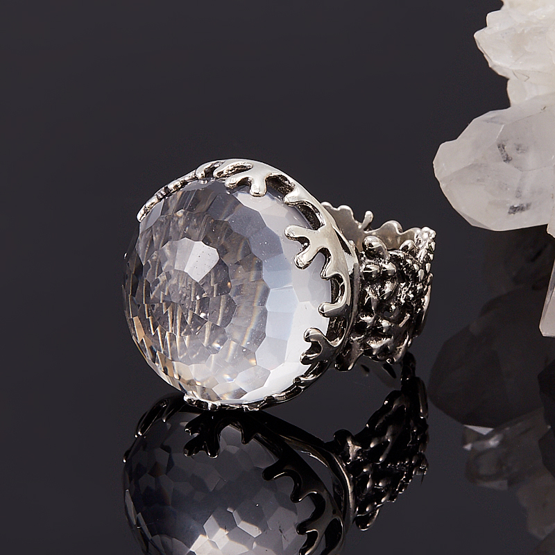 Кольцо горный хрусталь  огранка (серебро 925 пр.) размер 17,5