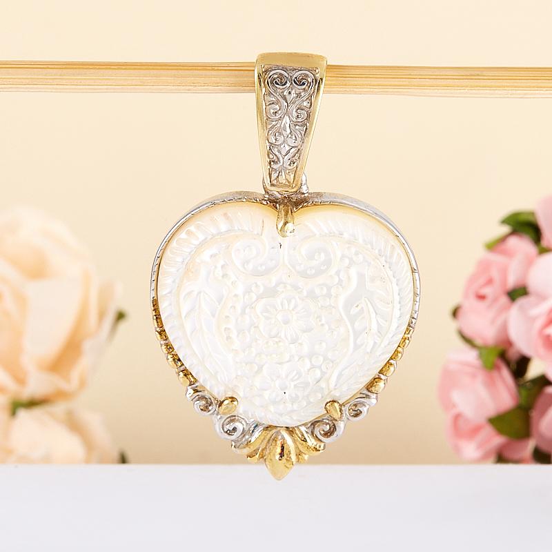 Кулон перламутр белый  сердечко (серебро 925 пр., позолота)