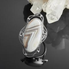 Кольцо агат серый Ботсвана (серебро 925 пр.) (регулируемый) размер 17,5