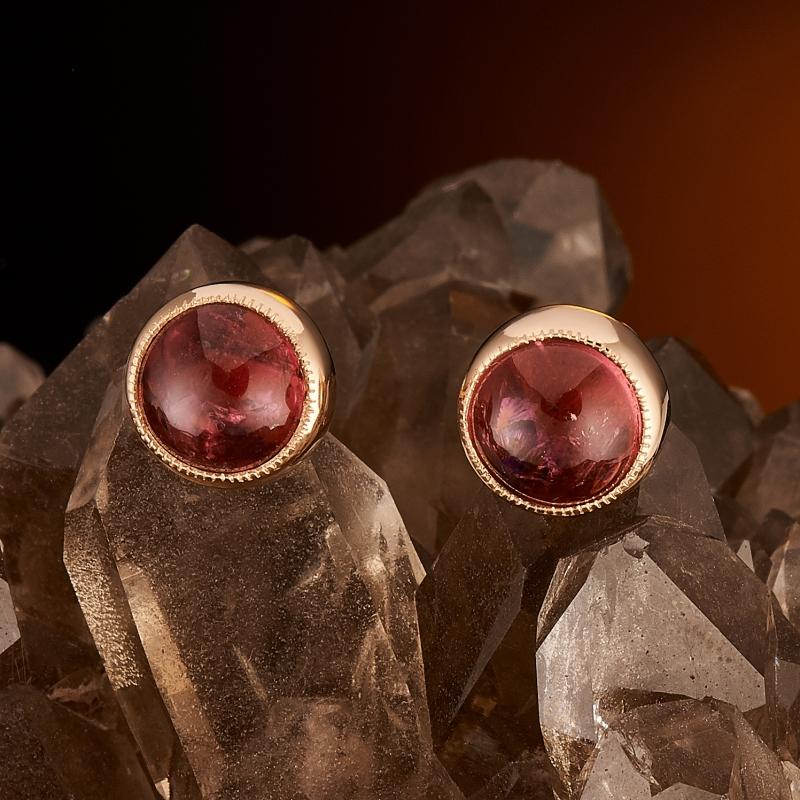 Серьги турмалин розовый (рубеллит) пуссеты (золото 585 пр.)