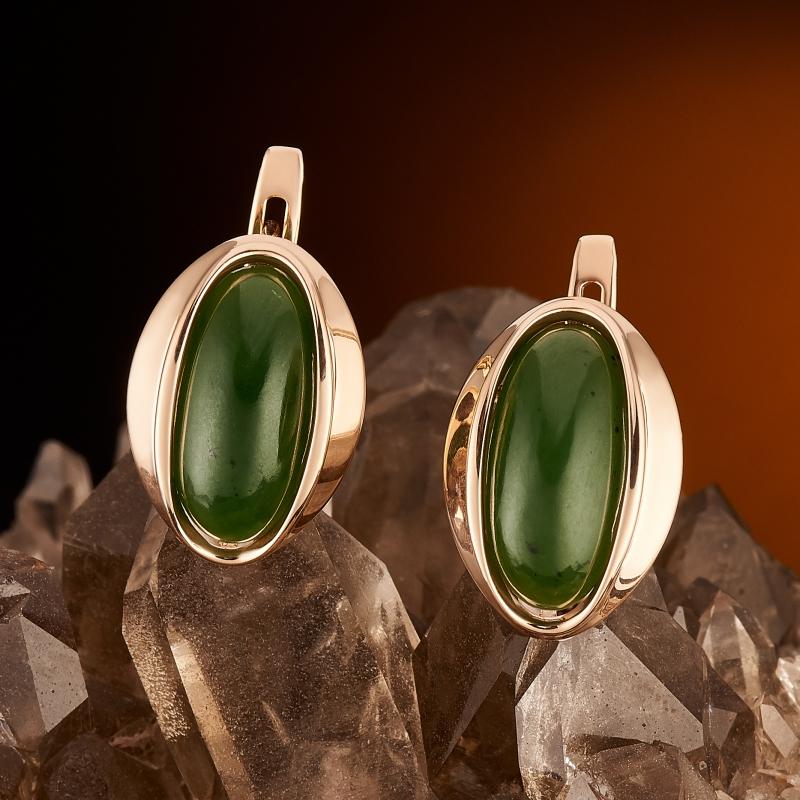 Серьги нефрит зеленый  (золото 585 пр.)