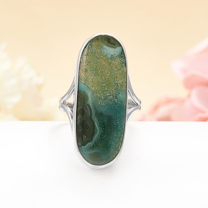 Кольцо агат моховой  (серебро 925 пр.) размер регулируемый кольцо фуксит серебро 925 пр регулируемый размер