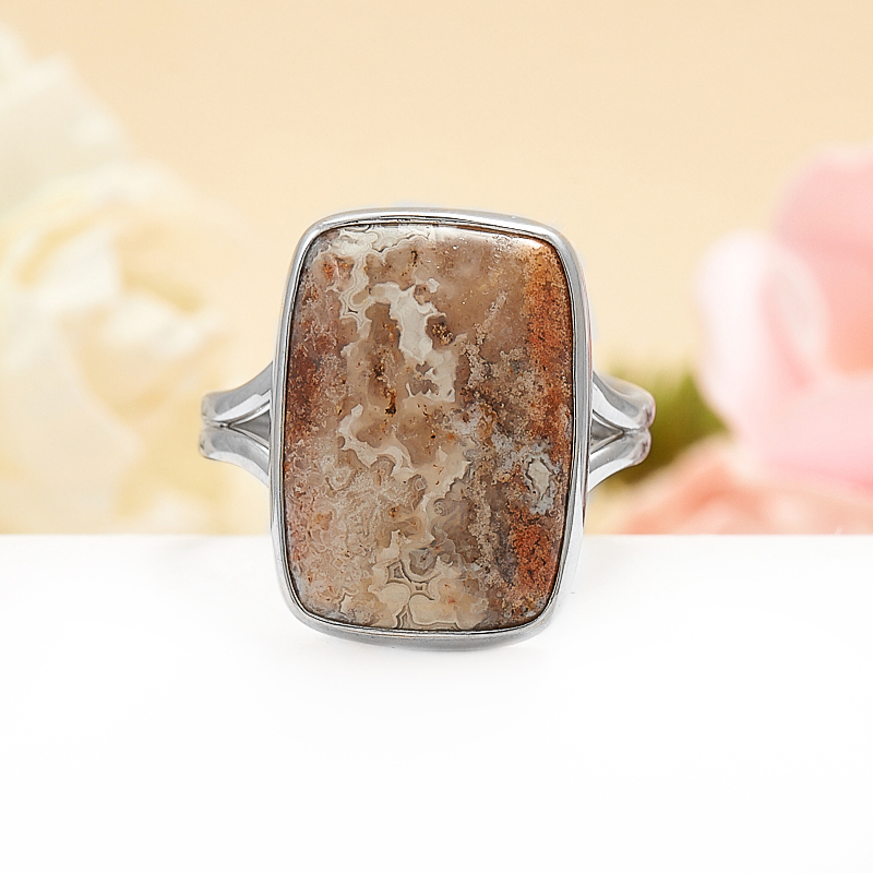 Кольцо агат  (серебро 925 пр.) размер регулируемый