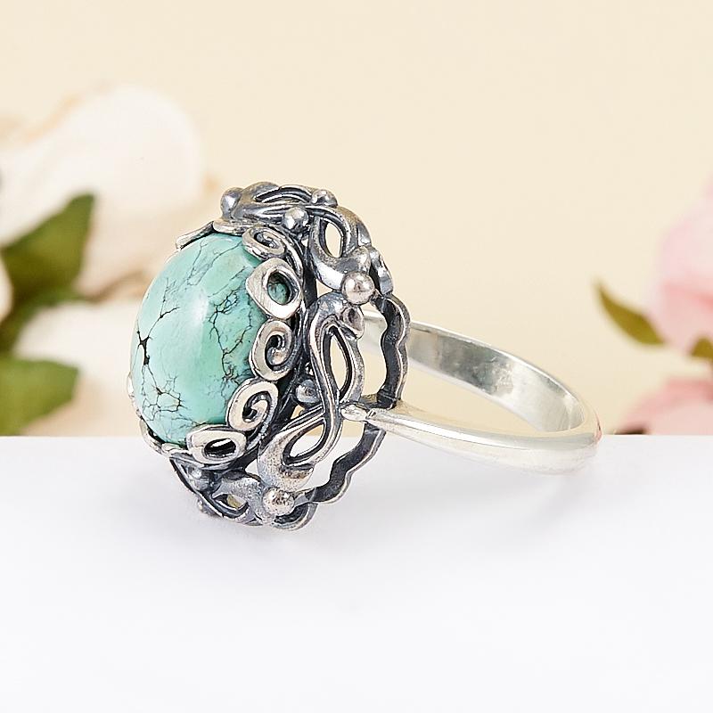 Кольцо бирюза Узбекистан (серебро 925 пр.) размер 18