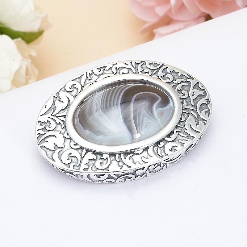 Брошь агат серый  (серебро 925 пр.)