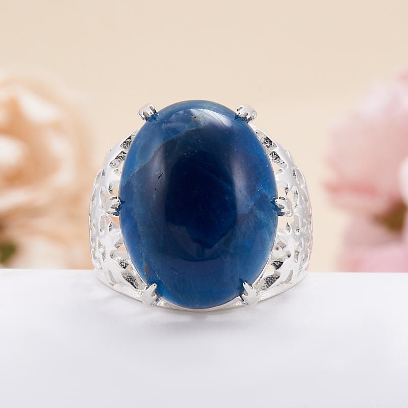 Кольцо апатит синий Бразилия (серебро 925 пр.) размер 16