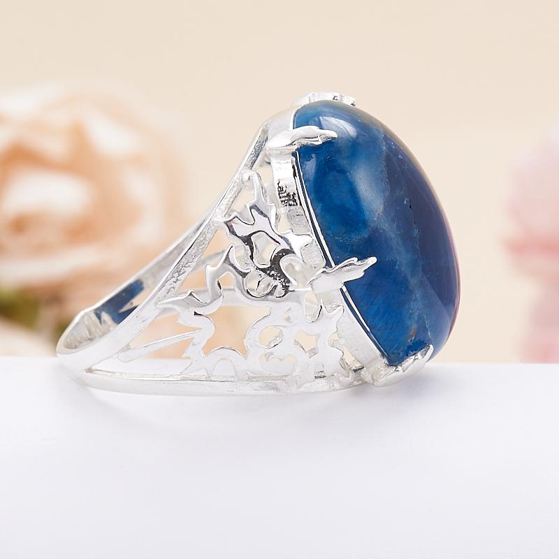 Кольцо апатит синий Бразилия (серебро 925 пр.) размер 18,5