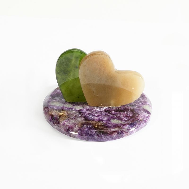 Статуэтка сердечки чароит, нефрит  3,5х5 см
