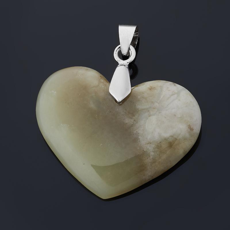 Кулон нефрит сердечко (биж. сплав) 4 см