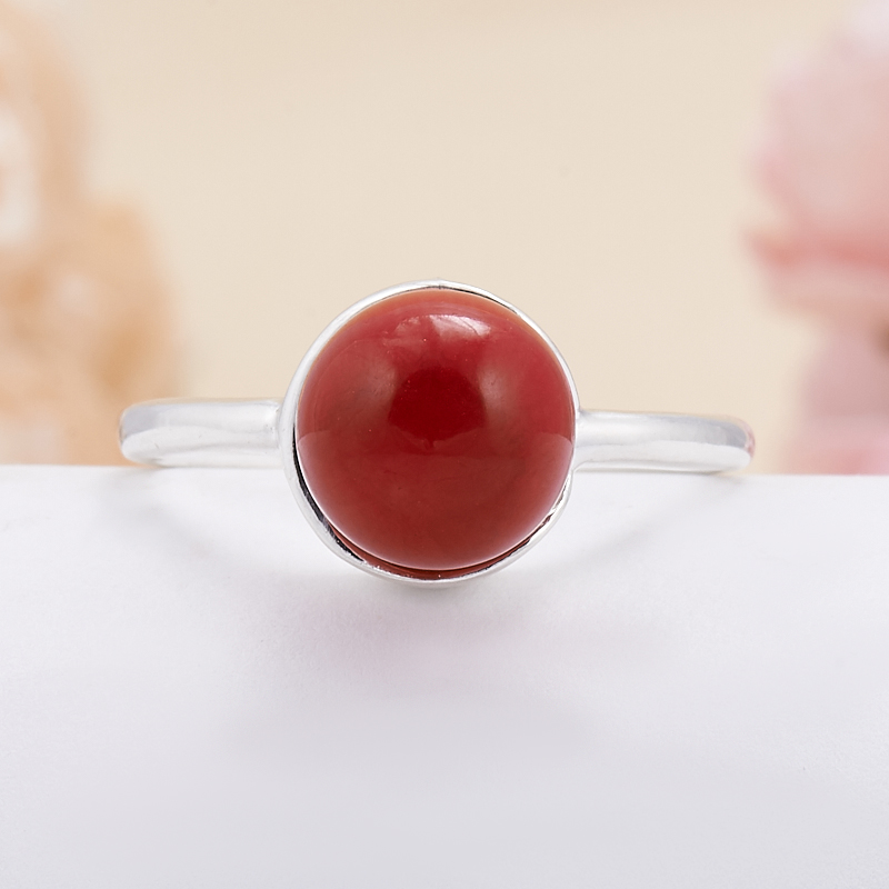 Кольцо коралл красный  (серебро 925 пр.) размер 18,5 кольцо авантюрин зеленый серебро 925 пр размер 18