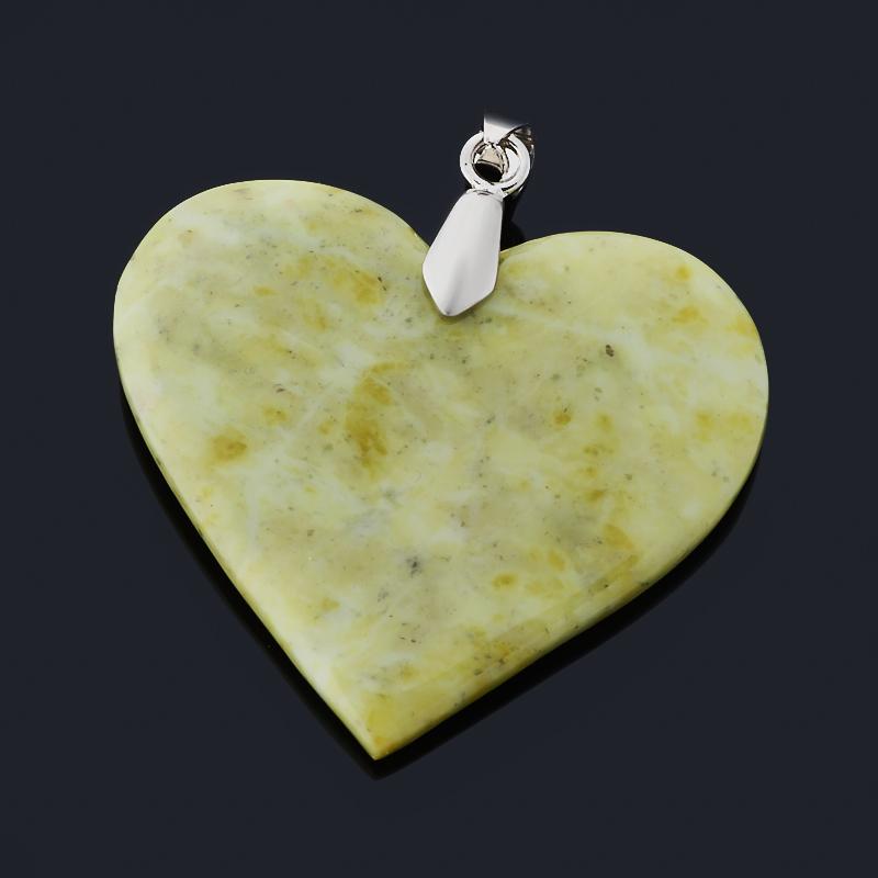 Кулон офиокальцит Россия сердечко (биж. сплав) 4,5 см