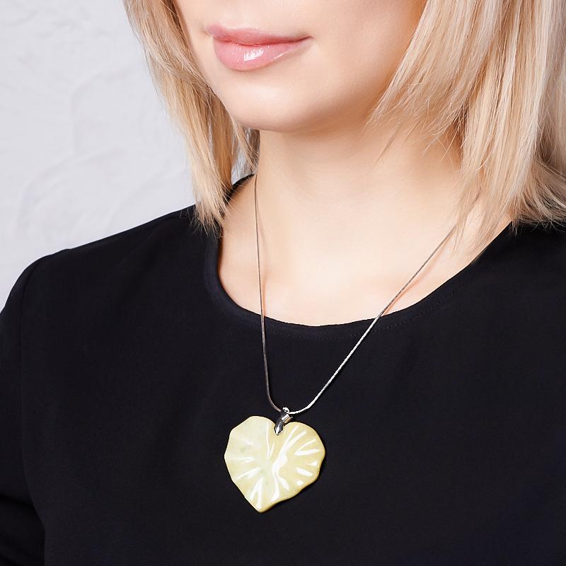 Кулон офиокальцит Россия сердечко (биж. сплав) 5,5 см