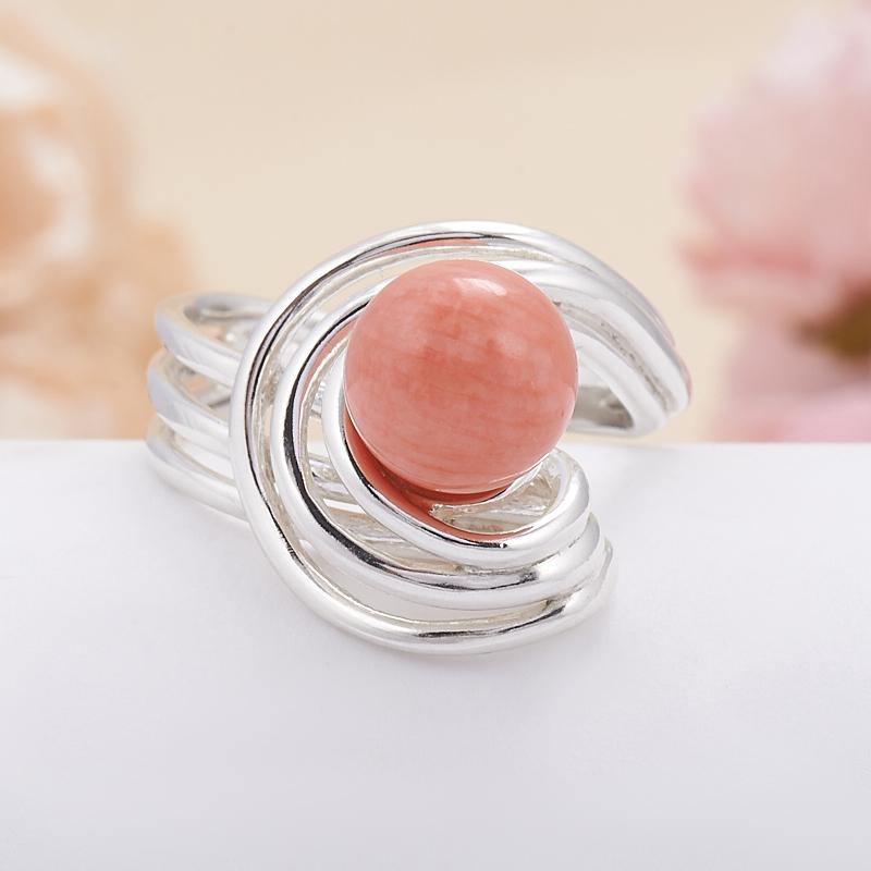 Кольцо коралл розовый  (серебро 925 пр.) размер 18,5