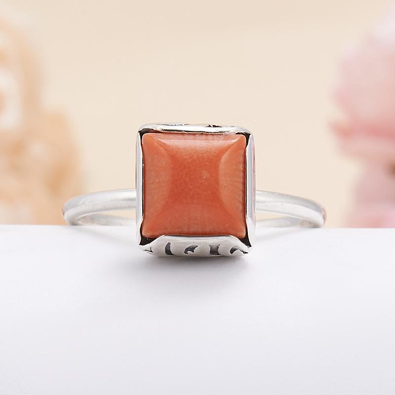 Кольцо коралл оранжевый  (серебро 925 пр.) размер 18,5 кольцо авантюрин зеленый серебро 925 пр размер 18
