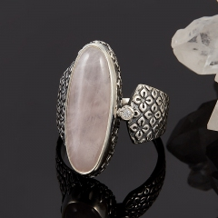Кольцо розовый кварц Бразилия (серебро 925 пр.) размер 18