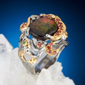Кольцо аммолит Канада (серебро 925 пр., позолота) размер 16,5