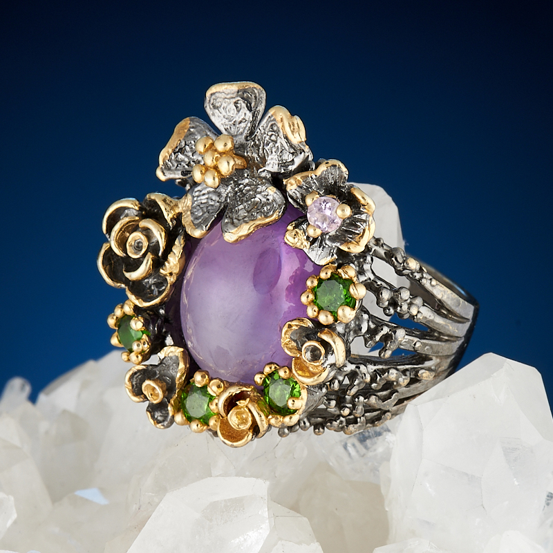 Кольцо аметист  (серебро 925 пр., позолота) размер 17 кольцо хризопраз серебро 925 пр размер 17