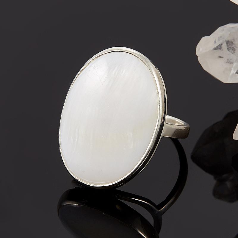 Кольцо перламутр белый  (серебро 925 пр.) размер 18 кольцо фаворитка перламутр