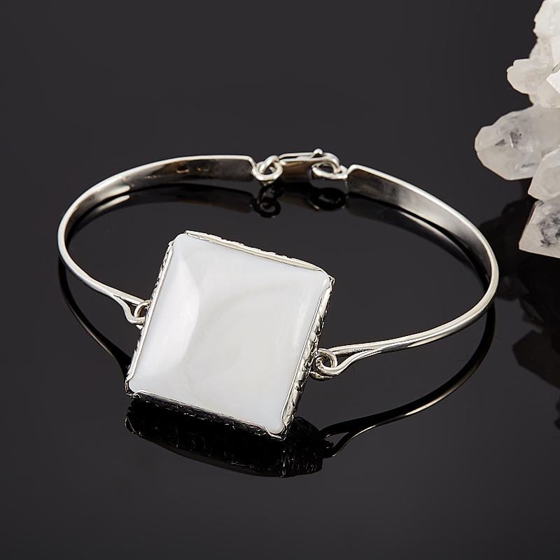 Браслет перламутр белый  17 см (серебро 925 пр.)