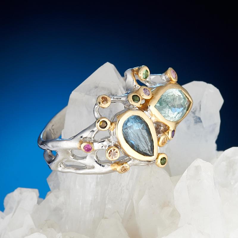Кольцо аквамарин  огранка (серебро 925 пр., позолота) размер 18 кольцо аквамарин серебро 925 пр размер 17 5