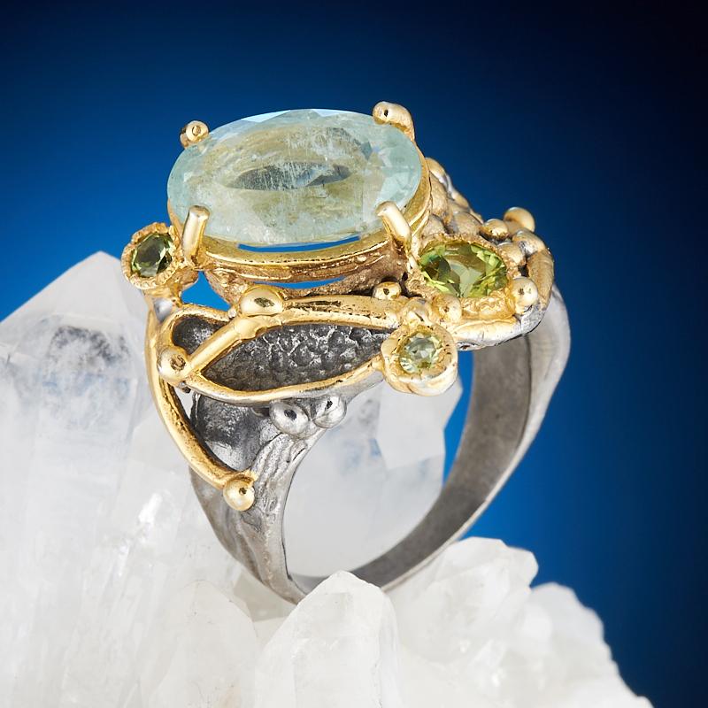 Фото - Кольцо аквамарин огранка (серебро 925 пр., позолота) размер 17,5 кольцо аквамарин серебро 925 пр позолота размер 18
