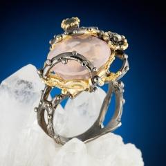 Кольцо розовый кварц Бразилия огранка (серебро 925 пр., позолота) размер 18,5