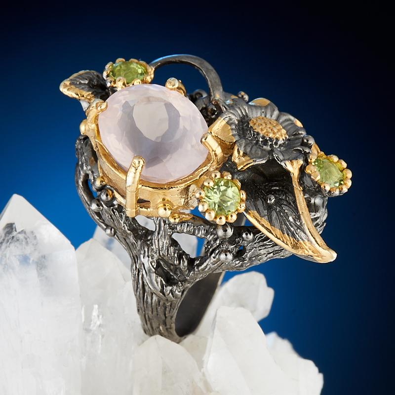 Кольцо розовый кварц огранка (серебро 925 пр., позолота) размер 18,5 бусики колечки кольцо лаватера розовый кварц арт ск 4986